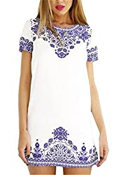 SheIn® Women's Blue and White Vintage Print Pattern Dress