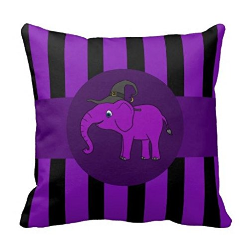 Zippered Pillow Cover Soft Bedding Cushion Cover Purple Elephant with Witch Hat Purple Stripes Throw Pillowcase