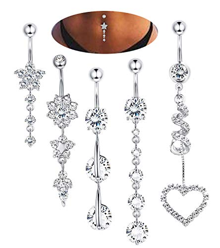 RIOSO Dangle Belly Button Rings for Women Girls Navel Ring Stainless Steel Long Belly Button Ring Set 14G