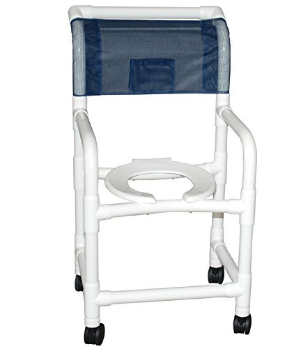 Mjm International 118 3Tw 10 Qt C Cb Cs Standard Shower Chair With Commode Pail  Cushion Back And Ring Seat  300 Oz Capacity  40 5  Height X 22  Width X 25 25  Depth  Royal Blue Forest Green Mauve