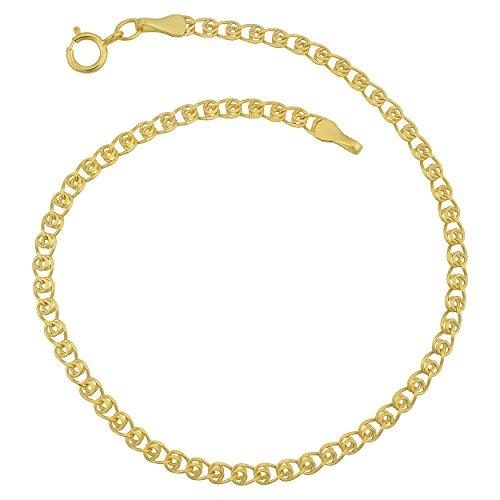 - Kooljewelry 10k Yellow Gold 2.7mm Delicate Hollow Love Link Anklet (10 inch)