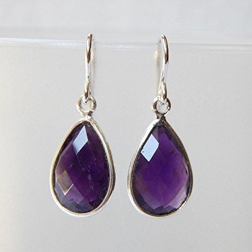 Cut Amethyst Drop Earrings (Amethyst Drop Earrings in Sterling Silver)
