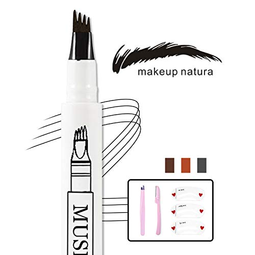 Eyebrow Tattoo Pen- Waterproof Microblading Eyebrow Pencil with a Micro-Fork Tip Applicator Creates Natural Looking Brows Effortlessly