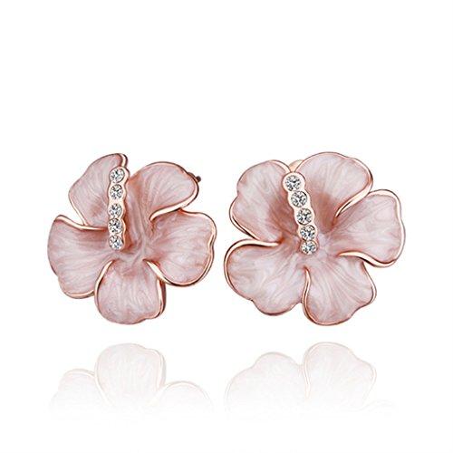 18k gold set auger allergy free women stud earrings High-end earrings Flower - Online Uk Watch Retailers