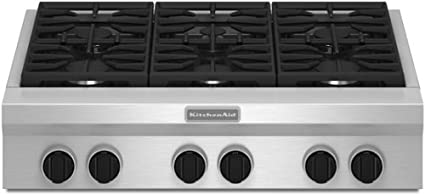 Amazon Com Kitchenaid 36 Gas Rangetop Stainless Steel 6 Burner