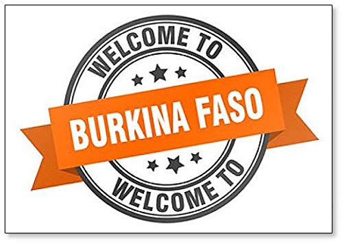 Burkina Faso Stamp. Welcome to Burkina Faso Orange Sign Fridge Magnet