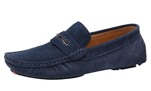 Icegrey Hombre Mocasines Zapatos de Conducción de Gamuza Casual Mocasín de Los Hombres Azul