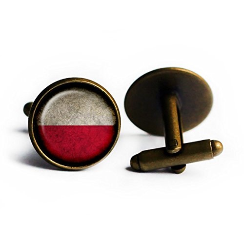 - Poland Polish Polska Flag Antique Bronze Cufflinks