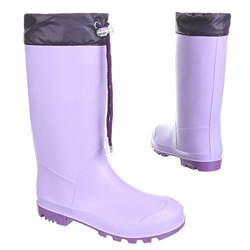 Ital-Design Kinder Schuhe, GST-K130PM, Regenstiefel Gummistiefel Lila 55