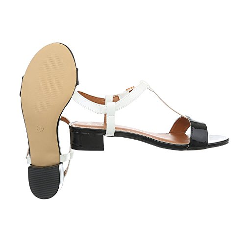 Noir Ital a Design Chaussures Laniere Sandales 4 Blanc Od Sandales Femme Bloc p48pWRnqc