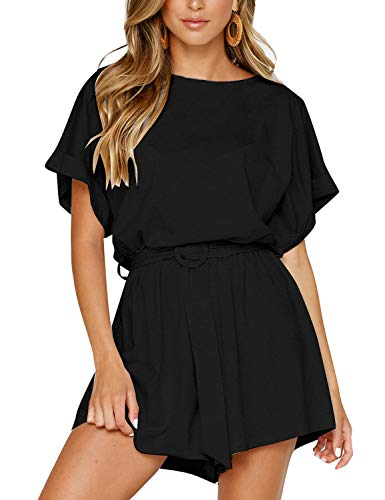 Vetinee Womens Black Cuffed Sleeve Summer Casual Belted Romper Keywhole Back Short Sleeve Jumpsuit Playsuit Large ()