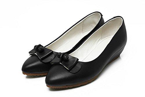 Amoonyfashion Dames Solide Puntige Gesloten Teen Lakleder Melange Materialen Pumps-schoenen Zwart