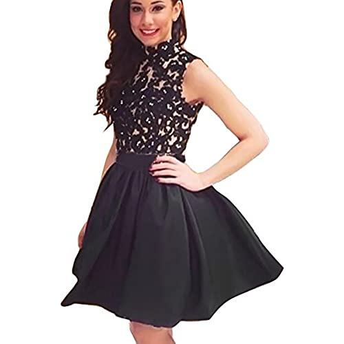 FANCYINN Women Turtleneck Sleeveless Lace Floral Mini Skater Cocktail Dress Black M