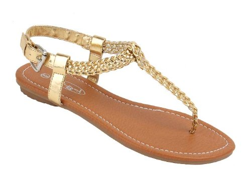 Leather Gold Flats sunville Sandals Gladiator Upper Shiny New Faux Women's wIzIqr0B
