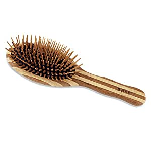 Brush - Large Oval Cushion Wood Bristles Wood Handle Bass Brushes 1 Brush