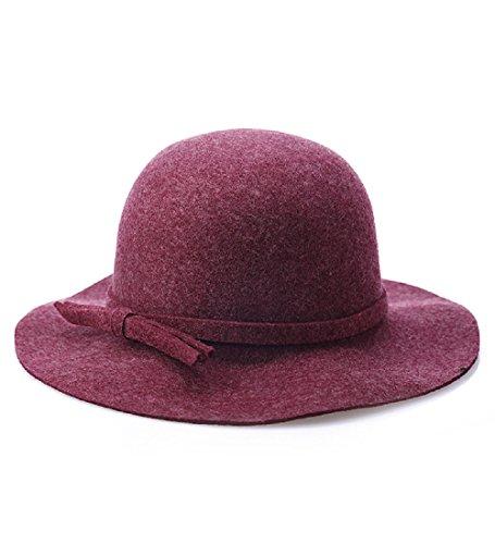 Tweed Cloche - Children Time Women Winter Wool Felt Wide Brim Fedora Hat Bowler Floppy Cloche Bowknot Cap (234.53.5in, purple)
