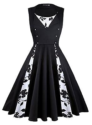 KeZheXi Women's Polka Dot Retro Sleeveless Vintage 1950s Rockabilly Evening Party Cocktail Swing Dress