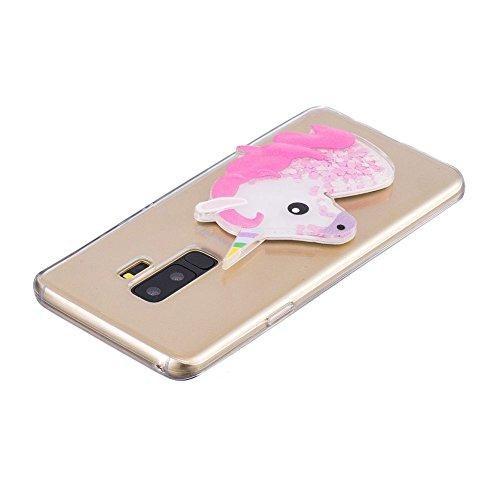 Funda Samsung Galaxy S9 Caso Unicornio Carcasa 3D Diseño Alivio Líquido Flotando Bling Glitter Estrella Cover Suave Flexible Transparente TPU Silicona Anti-Rasguño Anti-arañazos Protectora - Morado Rosa