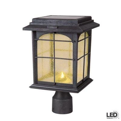 Solar Outdoor Hand-painted Sanded Iron Post Lantern with Seedy Glass Shade by Hampton Bay