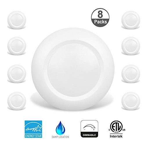 JULLISON 8 Packs 6 inch LED Low Profile Recessed & Surface Mount Disk Light, Round, 15W, 900 Lumens, 3000K Warm White, CRI80, Driverless Design, Dimmable, Energy Star, ETL Listed, White -