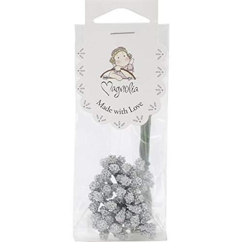 Magnolia Berries Stem for Crafting, Silver