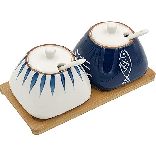 - TuuTyss Set of 2 Hand-paint Ceramic Spice Jars Sugar Bowl Container,Condiment Seasoning Box Container Pot Set with Lids,Spoon and Bamboo Tray
