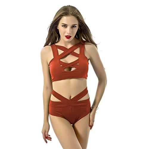 qiansheng Mujer Sexy pecho Cruz Vendaje lencería Braless Body de talle alto Bikini Set Bañador traje de baño de dos piezas medias para mujer bañadores Tankinis, Naranja, XL Naranja