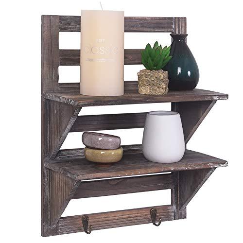 RHF Real Wood Farmhouse Floating Shelves,Farmhouse Shelves,Wood Wall Shelf for Hanging,Wall Mounted Shelf Shelves Organiser Rack (2 ()