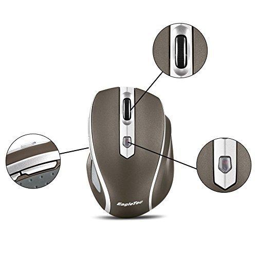 EagleTec MR5M2509 2.4GHz Schnurlose optische 5 Tasten Maus, anpassbare Auflösung 1000/ 1500/ 2000 DPI, mit Nano USB Empfänger (Champagne Gold)