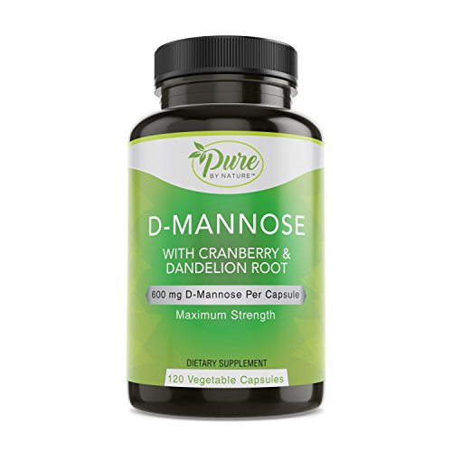 (Pure By Nature D-Mannose with Cranberry and Dandelion Root, 120 Count)