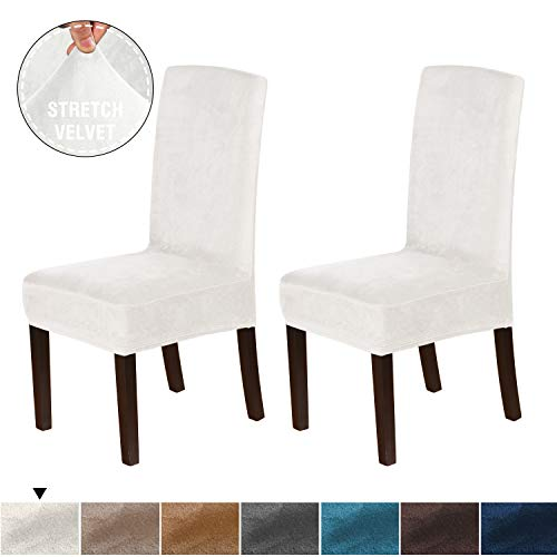 H.VERSAILTEX Super Stretch Form Fit Original Velvet Dining Chair Slipcovers (2 Pack) Removable Washable High Back Chair Covers for Home, Hotel, Dining Room, Ceremony, Banquet Wedding Party, Ivory