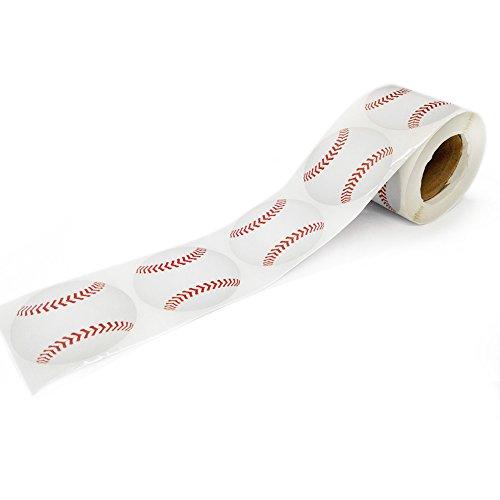 "Officeship 2""Dia Baseball Sticker, 250pcs/Roll-Baseball-1 roll"