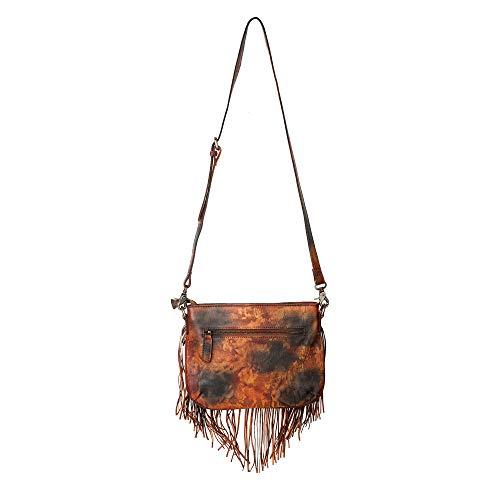 Bag Bohemian Cross Women Red Body Fringe Dip Dye ZLYC Studed Leather Fire Tassel Handmade HPwSYYzq