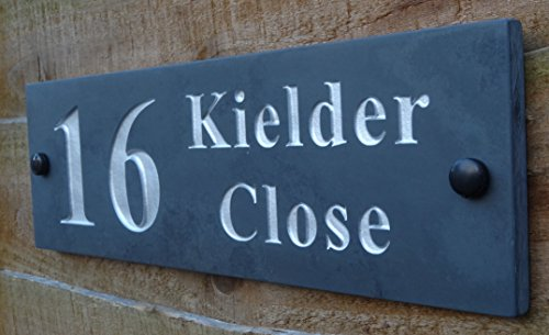 HIGH QUALITY Deep Engraved Honed Slate House Name Number Sign Plaque 30 x 10cm (Silver)