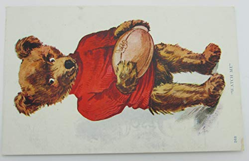 Vintage Postcard with a bear with a football and