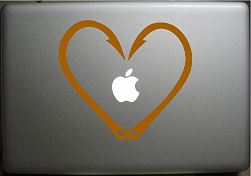 "Price comparison product image FISH HOOKS HEART Love Fishing (Gold 4"") Vinyl Decal Sticker for Car Automobile Window Wall Laptop Notebook Etc.... Any Smooth Surface Such As Windows Bumpers"
