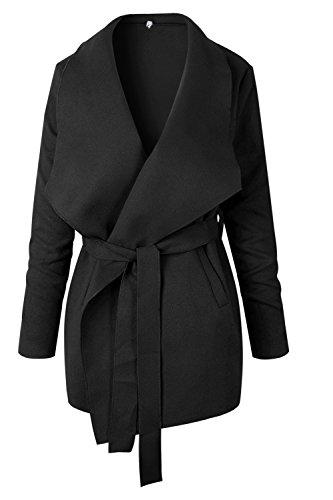 Las Frontal negro Solapa Con Ropa De Grueso De Mujeres Invierno Abrigo Elegantes Abierto Cinturón Trenchcoats r7pRrqTC