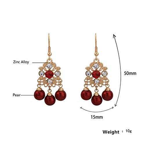 LeNG Earrings For Women NEW Classical Ear Stud With Red Pearl Round Shape Earrings Fine Jewelry EH007,Aspicture by LeNG Earrings (Image #7)
