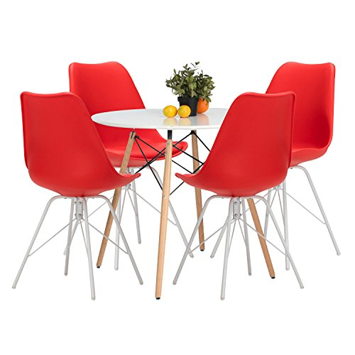4 Red Chairs Set (YUIKY Modern Dining Chairs Set of 4 with PU Leather Upholstered Side Chairs (Red))