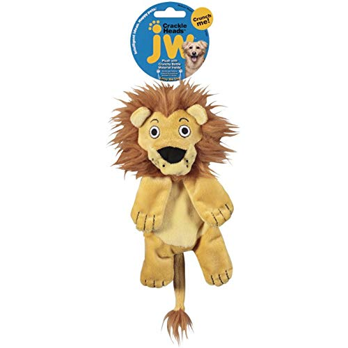 JW Pet Company Crackle Heads Leroy Lion Dog Toy, Medium ()