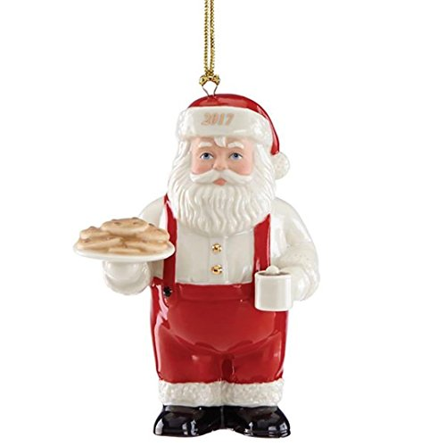 Lenox 2017 Santa Ornament Figurine Annual Cookies For Claus Cocoa Mug Christmas