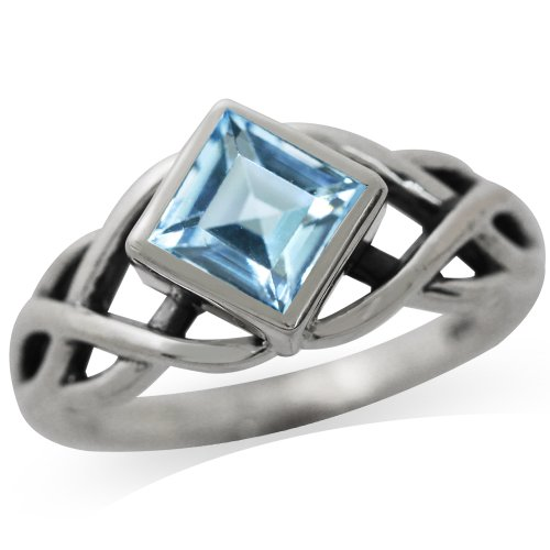 1.44ct. Genuine Blue Topaz 925 Sterling Silver Celtic Knot Solitaire Ring Size 7