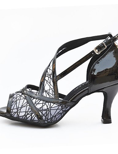 ShangYi Chaussures de danse(Noir / Rouge / Blanc / Or) -Non Personnalisables-Talon Bobine-Similicuir-Salsa , black-us6 / eu36 / uk4 / cn36 , black-us6 / eu36 / uk4 / cn36