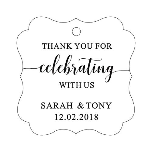 Darling Souvenir Fancy Frame Custom Paper Tags Thank You For Celebrating With Us Wedding Favor Gift Hang Tags-White-100 Tags