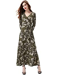 Women's 3/4 Sleeve Vintage Faux Wrap Long Maxi Dress with...
