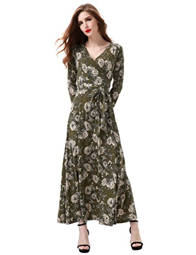 Aphratti Women's 3/4 Sleeve Vintage Wrap Long Maxi Dress with Belt Small Green