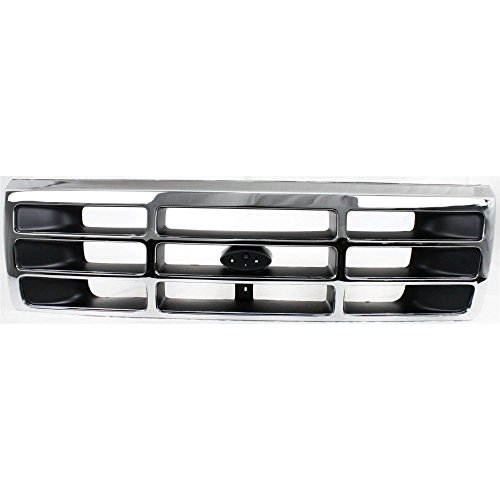 Ford Grille Bronco 96 Assembly (Evan-Fischer EVA17772011239 Grille for Ford F-Series 92-97 Plastic Chrome Shell W/Gray Insert)
