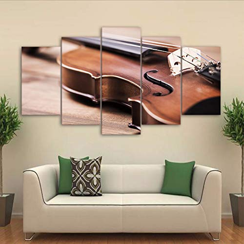 Yyjyxd Wall Art Canvas Hd Prints Pictures 5 Pieces Violin Paintings Classical Music Instrument Posters Modular Living Room Decor Framed,12X16/24/32Inch,with Frame]()