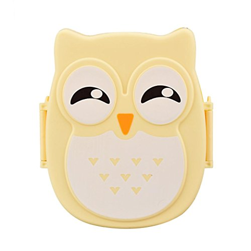 Owl Lunch Box, SUPPION Compartment Reusable Food Storage Containers Portable Bento Box for Kids, Adults (Yellow)