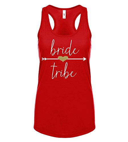 818758859 Bride Tribe Arrow and Glitter Heart Tank Top (Medium, Red) - Buy Online in  Oman. | Apparel Products in Oman - See Prices, Reviews and Free Delivery in  ...